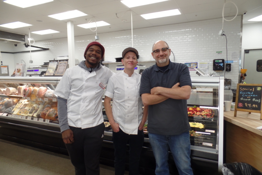 Edward Tucker (meat department), Julie Stonebraker (meat and seafood deparment manager) and Mark Sokolov (food service manager) at the new Community Foods Market in West Oakland.