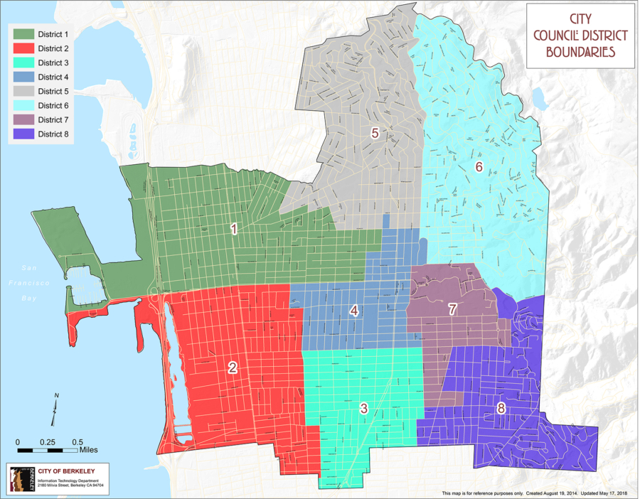 Map of Berkeley City Council districts