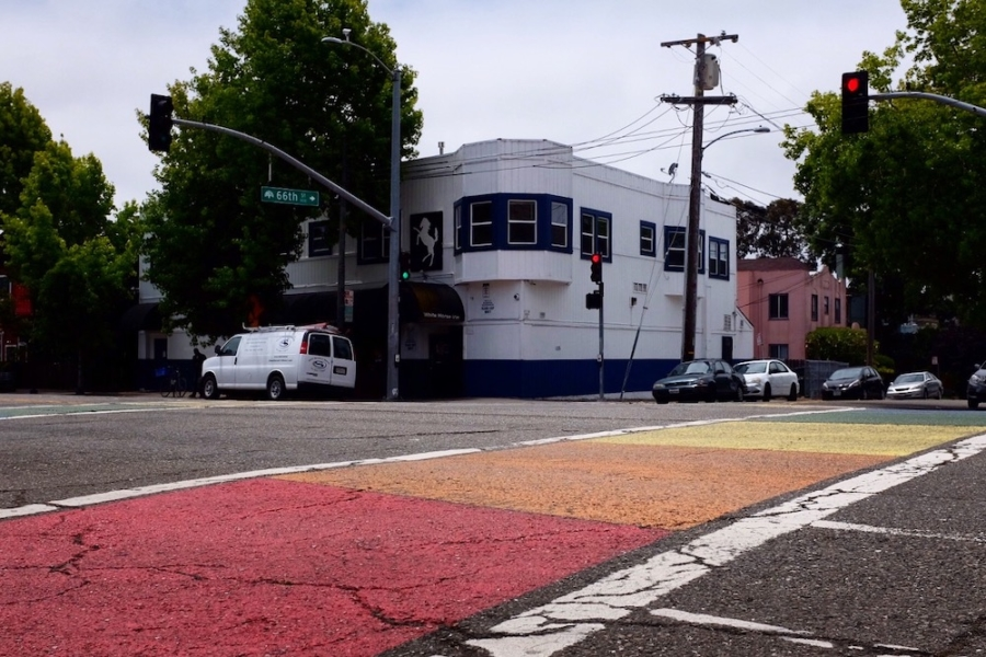 A rainbow crosswalk in front of the White Horse Bar in Oakland.
