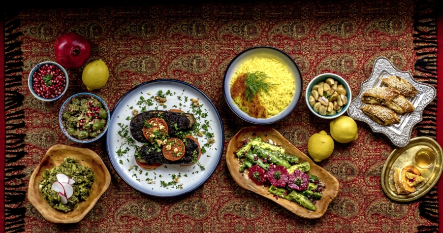 A table set with northern Iranian dishes from Komaaj, a pop-up from chef Hanif Sadr.