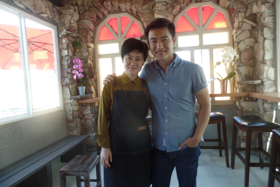 MY Coffee Roastery owner Christine Chow with son Caven Chow.