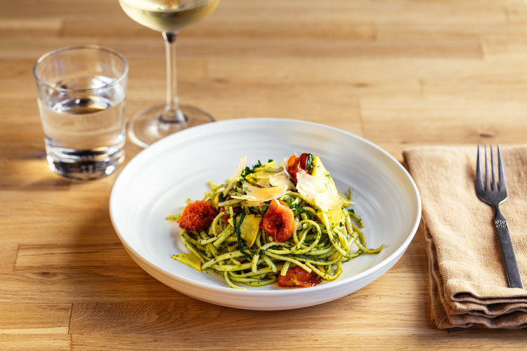 Linguine with basil pesto, roasted cherry tomatoes, squash and Parmesan at Mama Oakland.