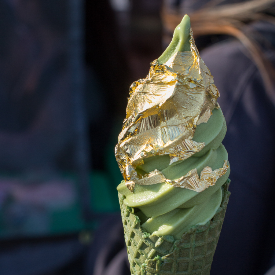Matcha softserve with 24K gold leaf ($12) from Matcha N' More at FoodieLand Night Market.