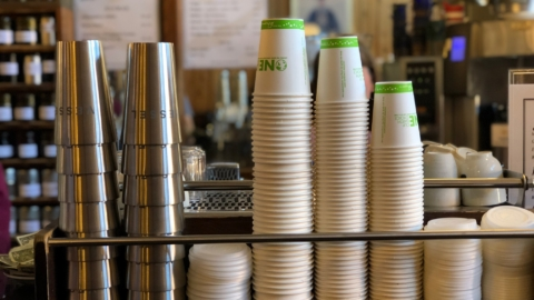 Starting Sept. 18, customers at participating Berkeley businesses can choose a reusable stainless steel cup for their to-go beverage. Photo: Vessel/Facebook