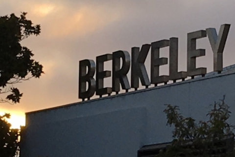 Berkeley sign with sunset in background