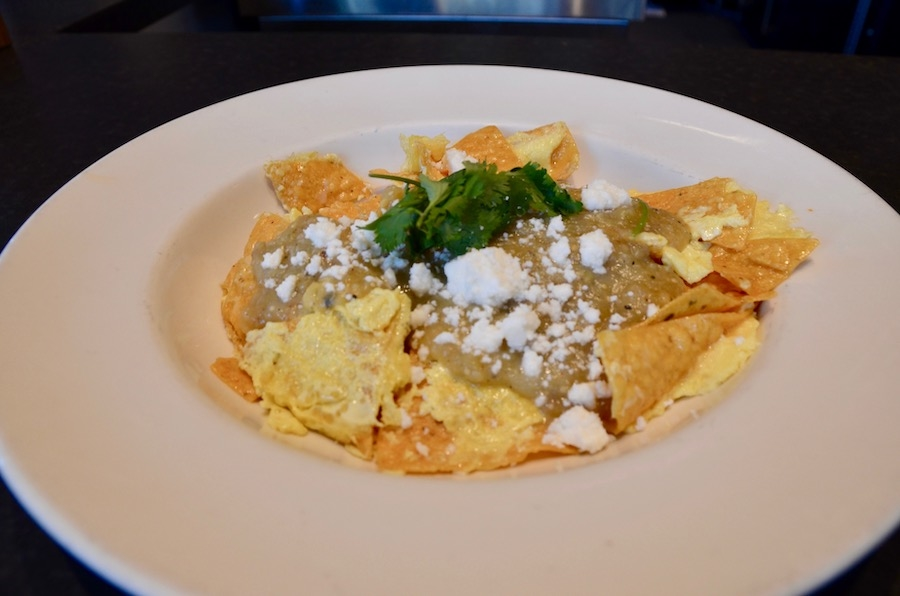 A plate of chilaquiles from Chop Bar in Oakland.
