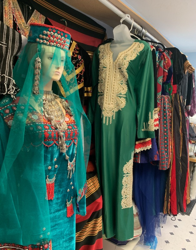 colorful Arab clothing on mannequins