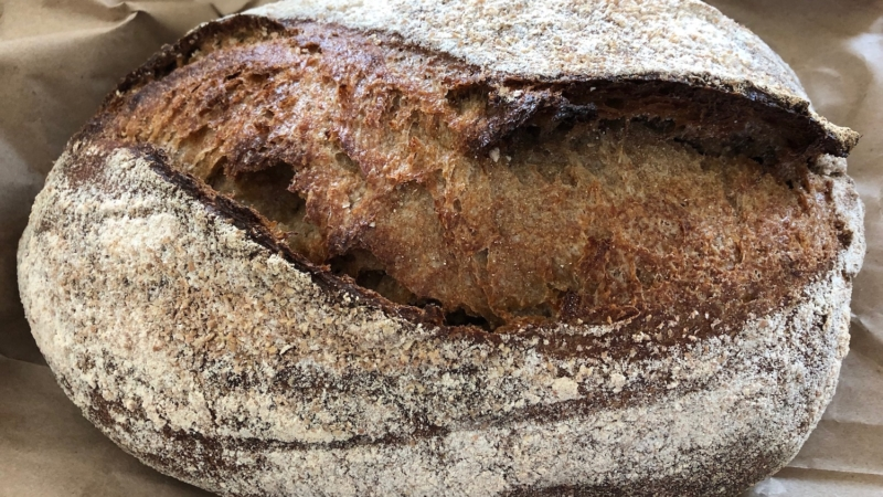 Marina Bay Bakery's Summit 100% whole wheat sourdough loaf.