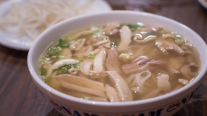 Pho ga thit xe or pho with shredded chicken meat from Pho Ga Huong Que Cafe