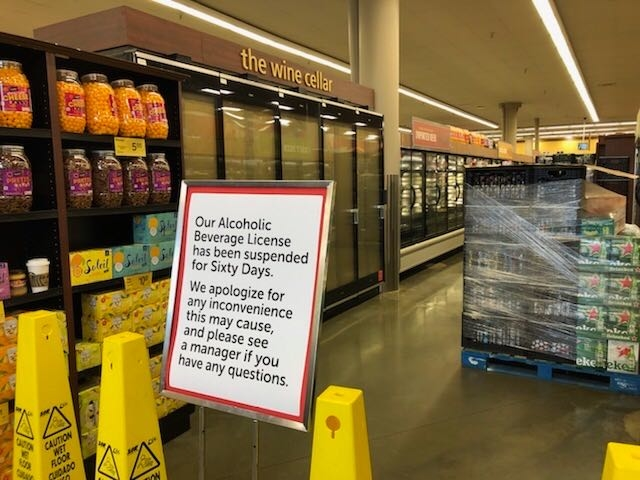Sign at Claremont Safeway on College Avenue explaining the store had its ABC license suspended for 60 days