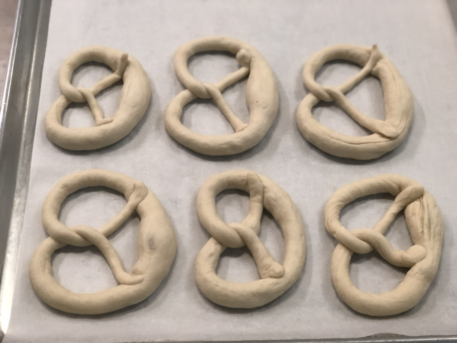 A tray of unbaked pretzels from Squabisch.