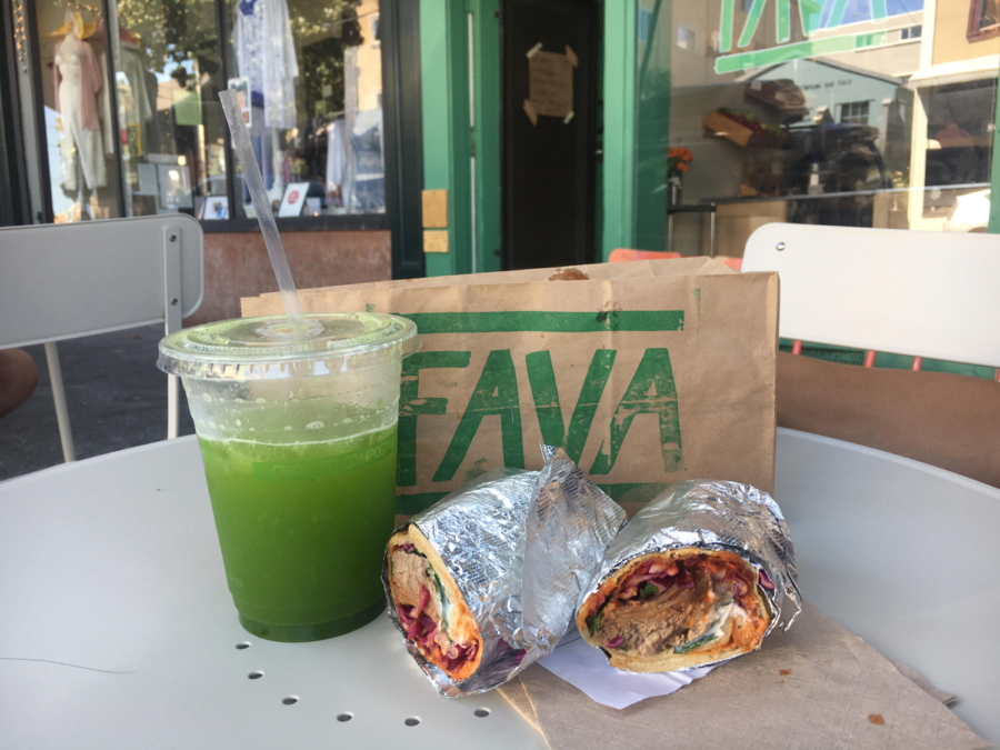 A braised lamb wrap and greens cucumber lime juice from Fava in Berkeley.