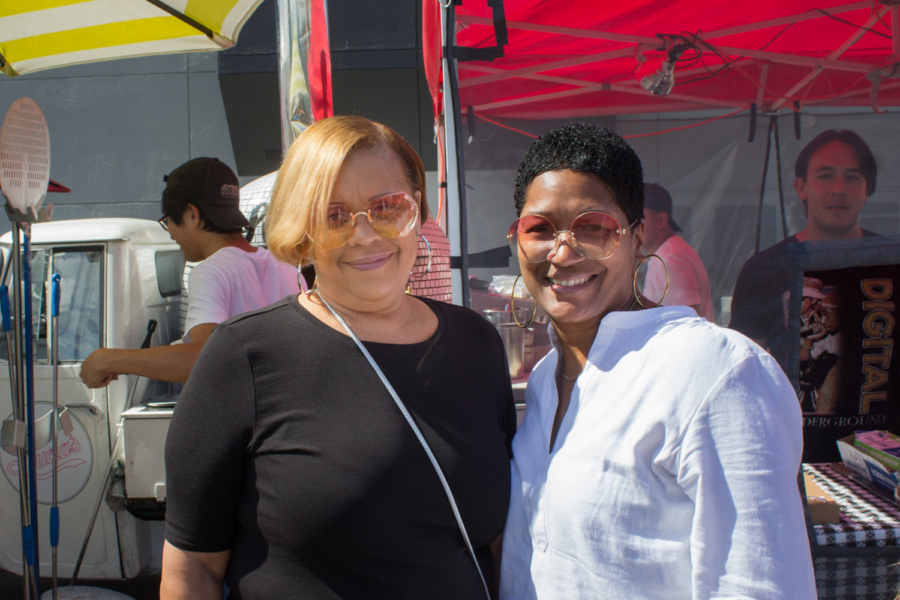 Alesia Mosley, left, and Chrishelle C., attend their first Eat Real Festival.