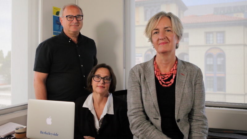 Lance Knobel, Frances Dinkelspiel and Tracey Taylor in the Berkeleyside office