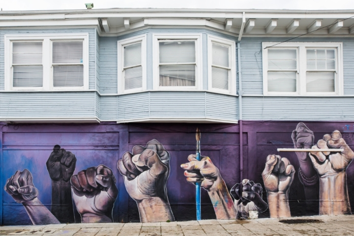 mural of raised fists