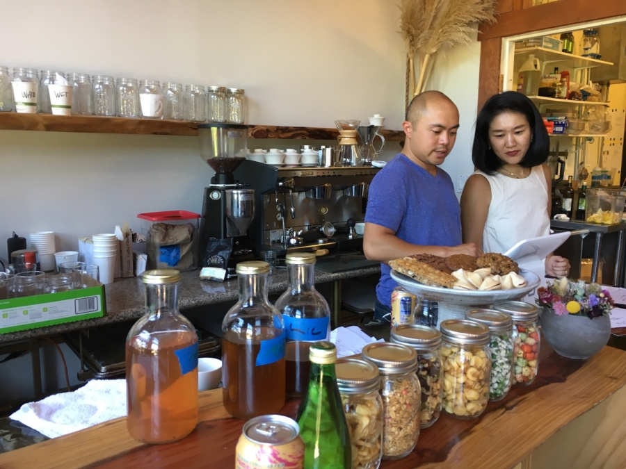 Co-owner Andy Kellogg and his wife Asako Unome-Kellogg at the Hidden Café in Berkeley.