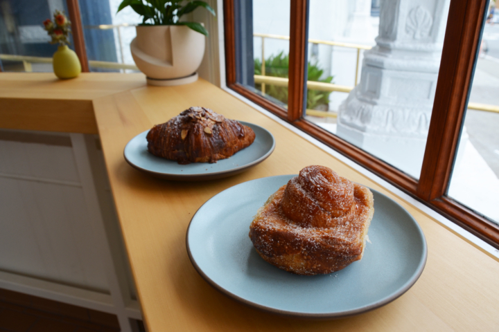 A morning bun and Frangipane almond croissant at Tartine Bakery in Berkeley.