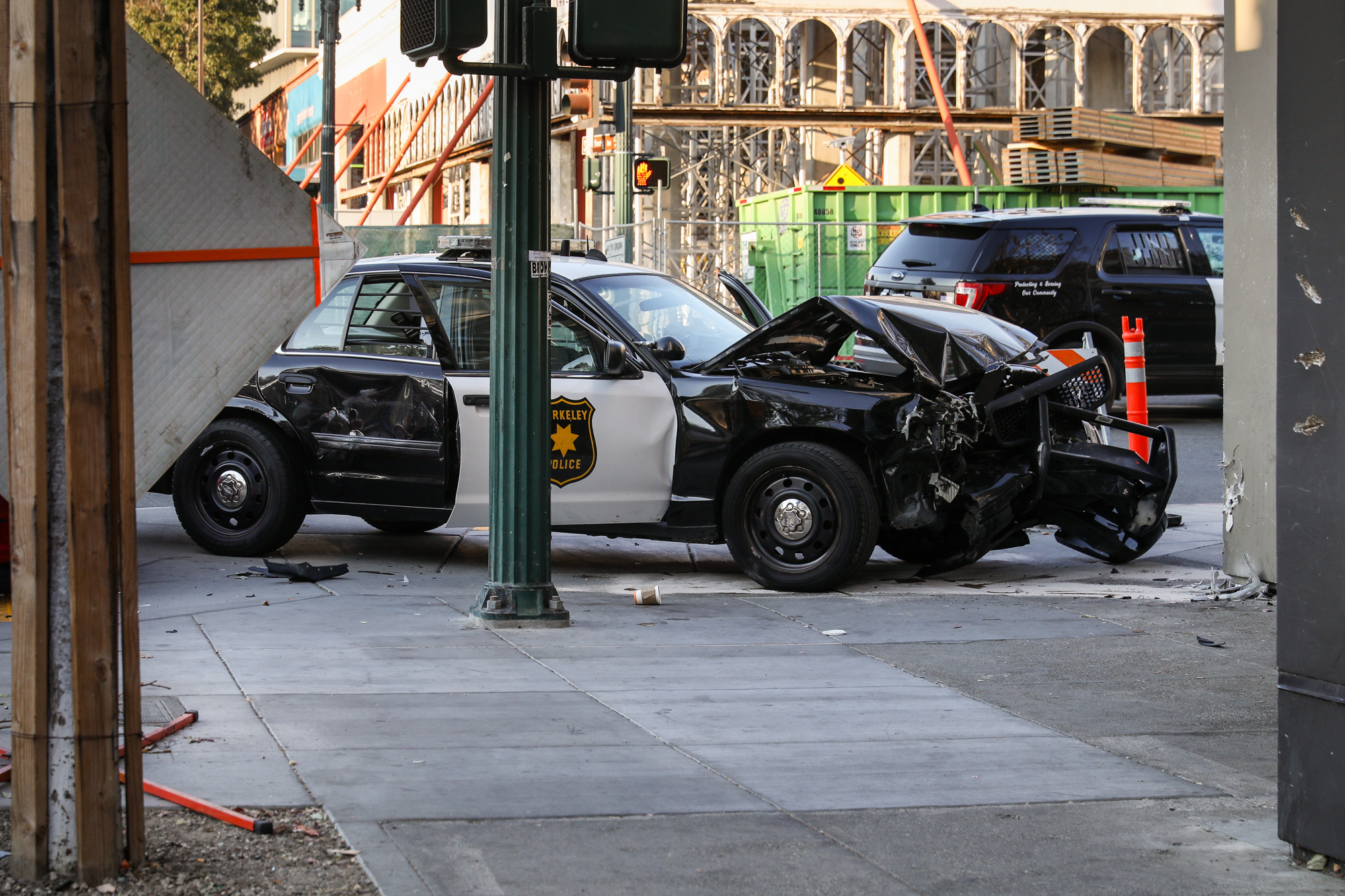 A BPD police cruiser was involved in a collision at the intersection of University and Shattuck on Friday, Oct. 25. Photo: Kelly Sullivan