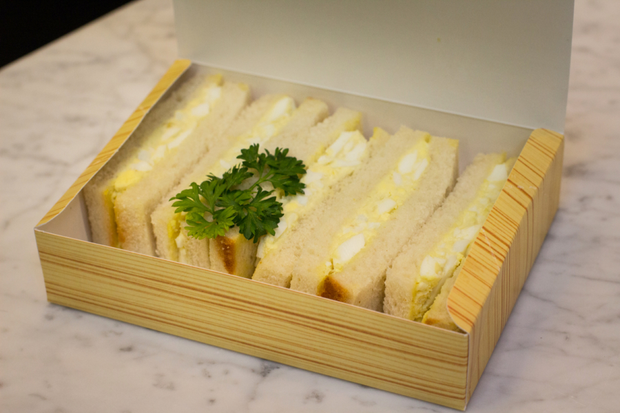 Egg salad sandwich in a box from Tori Man.