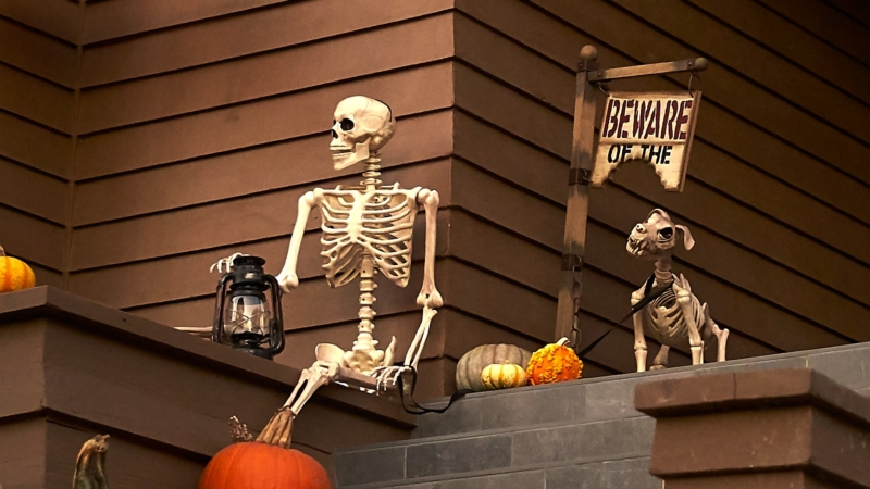 Halloween decorations on steps.