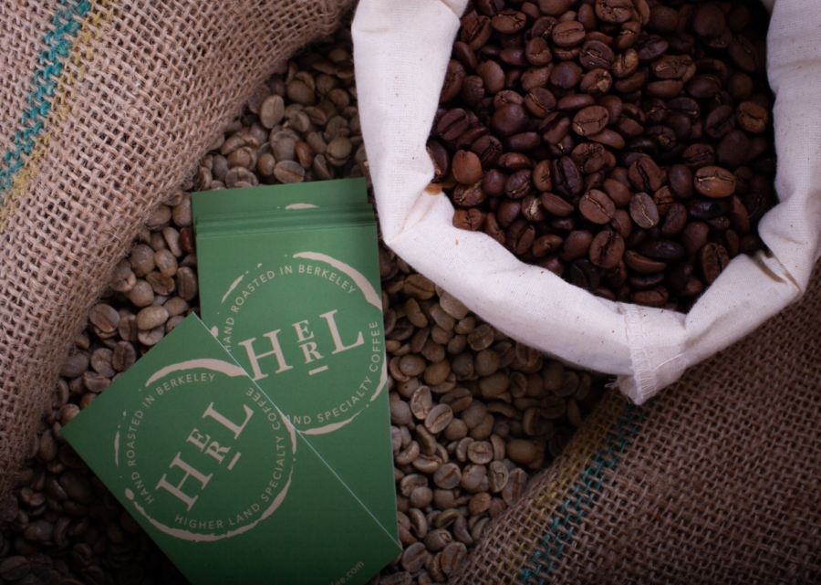 A bag of coffee beans and packaging from Higher Land, a new micro coffee roastery in Berkeley.