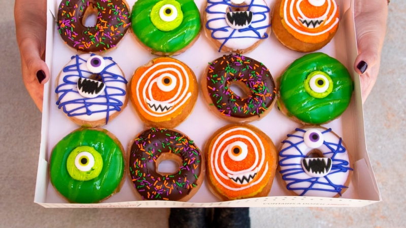 Stop by any Krispy Kreme location in a Halloween costume on Oct. 31 to get your choice of one free Monster Bash donut.