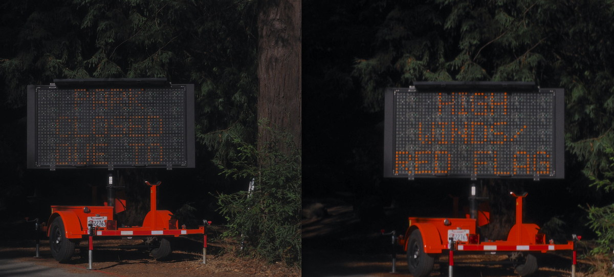 signs announcing power outage in Berkeley