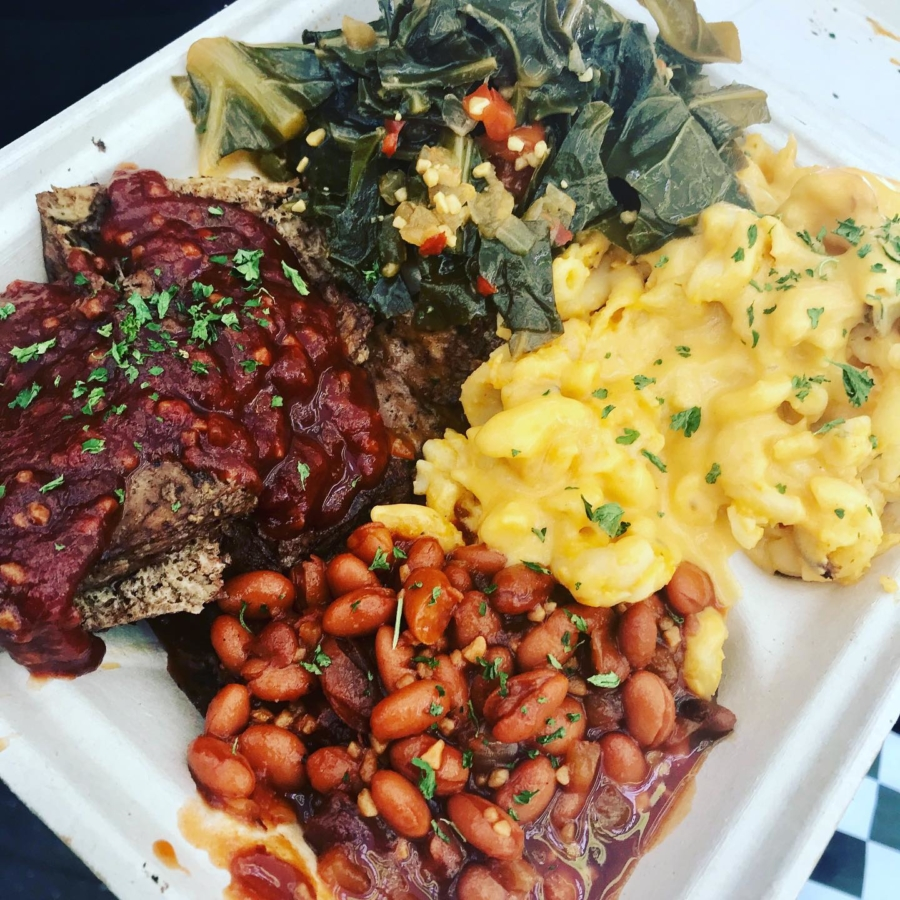 The Mob Plate featuring planted-based barbecue and side dishes from Vegan Mob.
