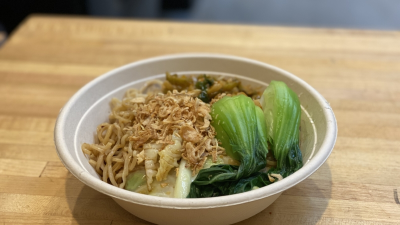 Shanghai-style scallion oil tossed noodles at Famous Bao in downtown Berkeley.