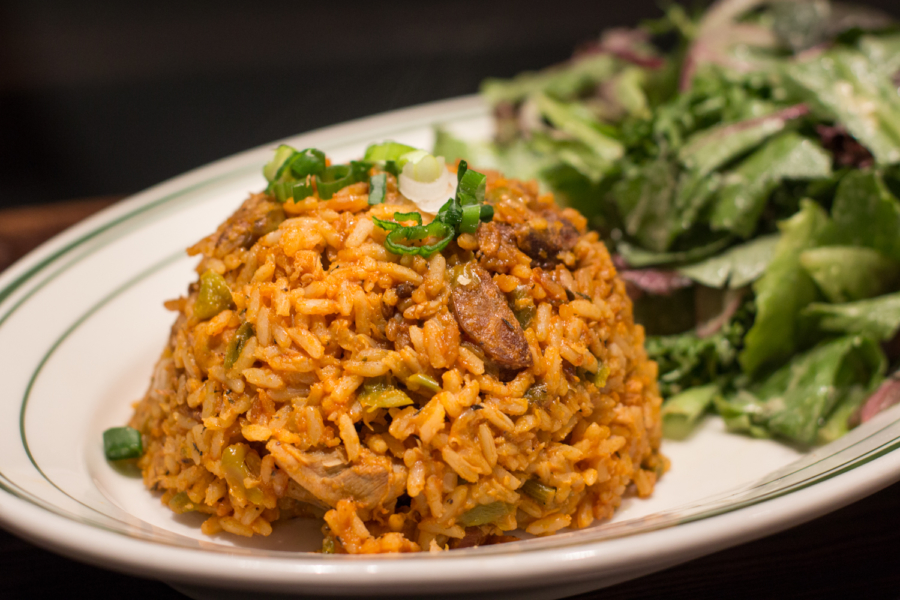 Chicken and andouille jambalaya with green salad.