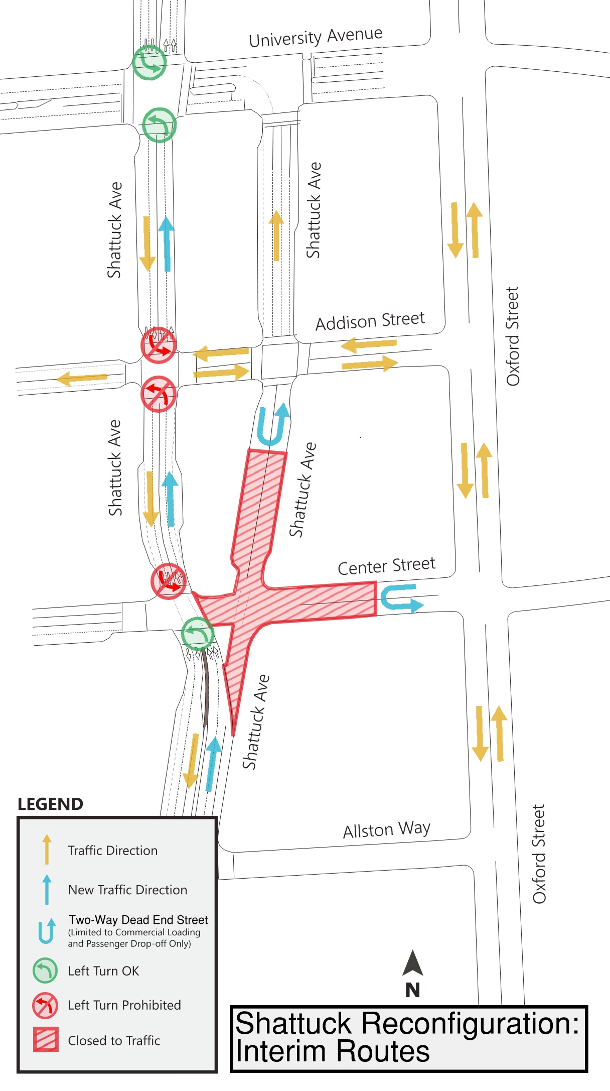 A map showing new driving routes in downtown berkeley