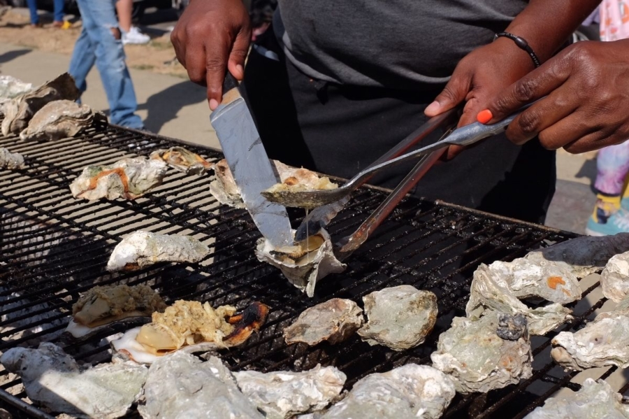Grilled oysters at the second annual BBQing While Black event in Oakland.