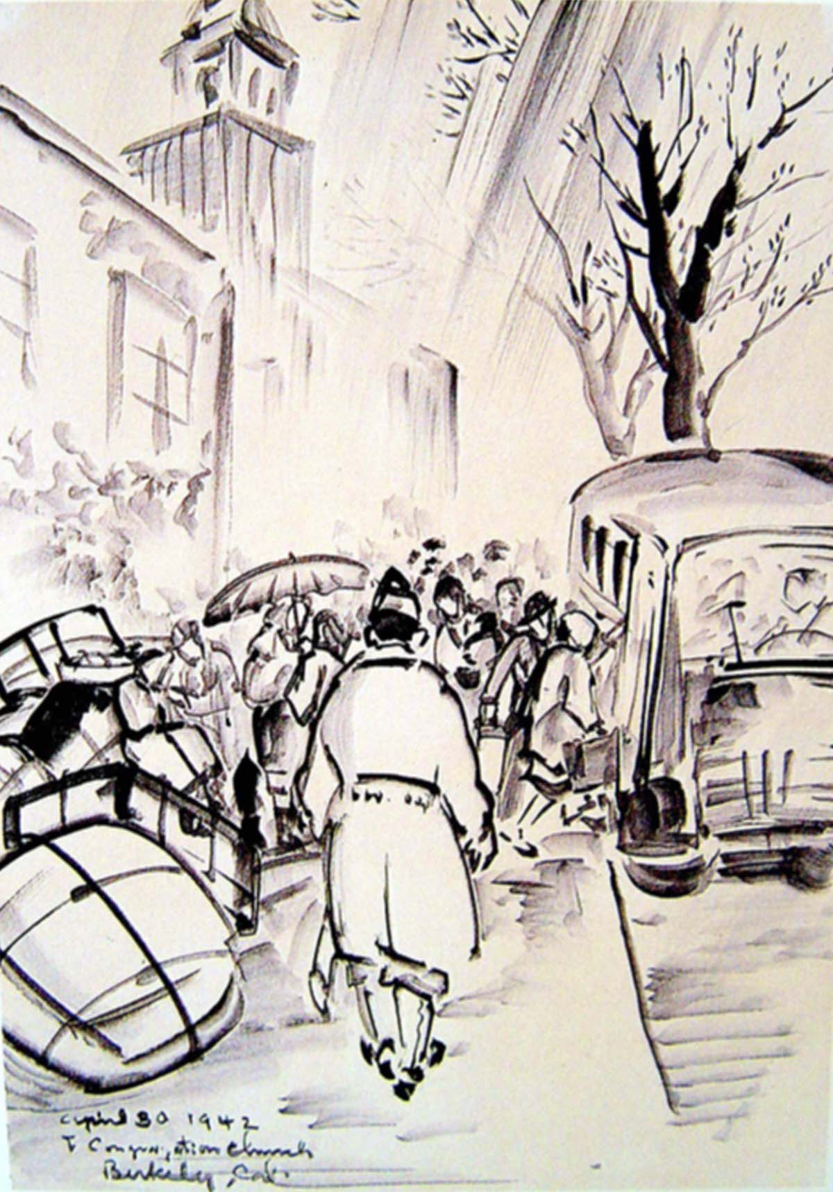 a black and white painting of people loading onto a bus