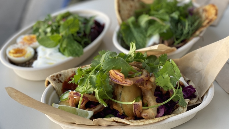 Flatbread sandwiches and a beets with warm lentils salad at Fava in Berkeley.