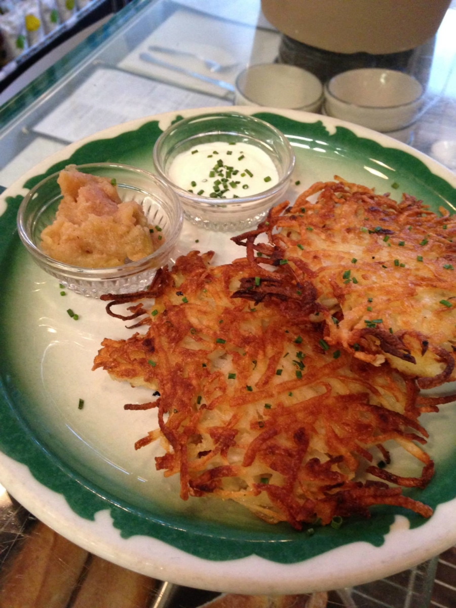 Latkes with applesauce and crème fraîche at Grand Lake Kitchen.