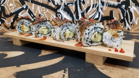 """Dragon Roll with braised """"eel"""" from Salvage Hausu."""