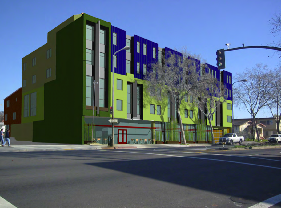 a rendering of a green and blue 5-story building