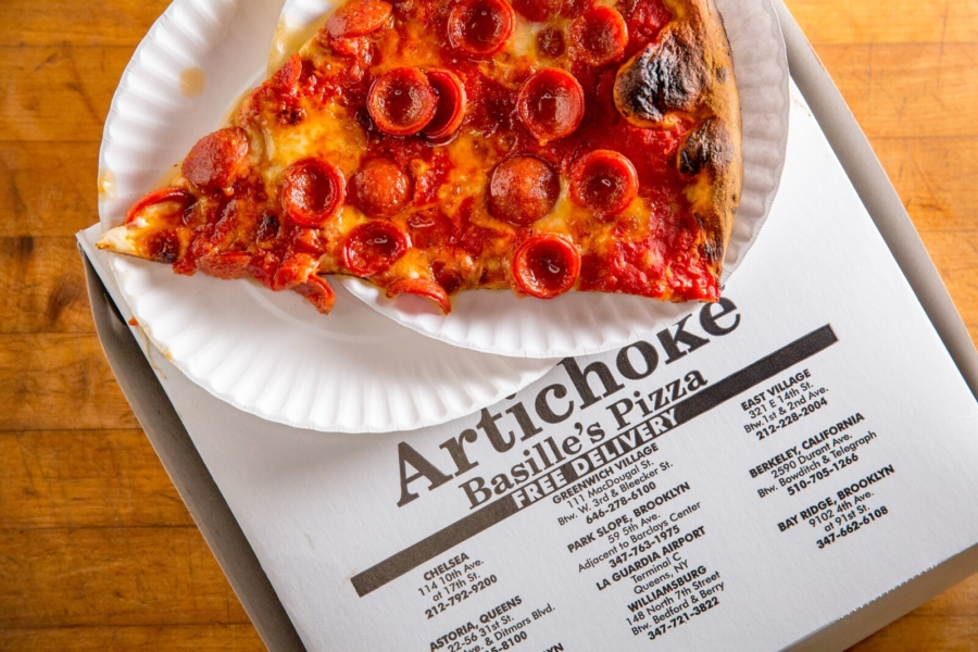 A slice of pepperoni pizza from Artichoke Basille's.