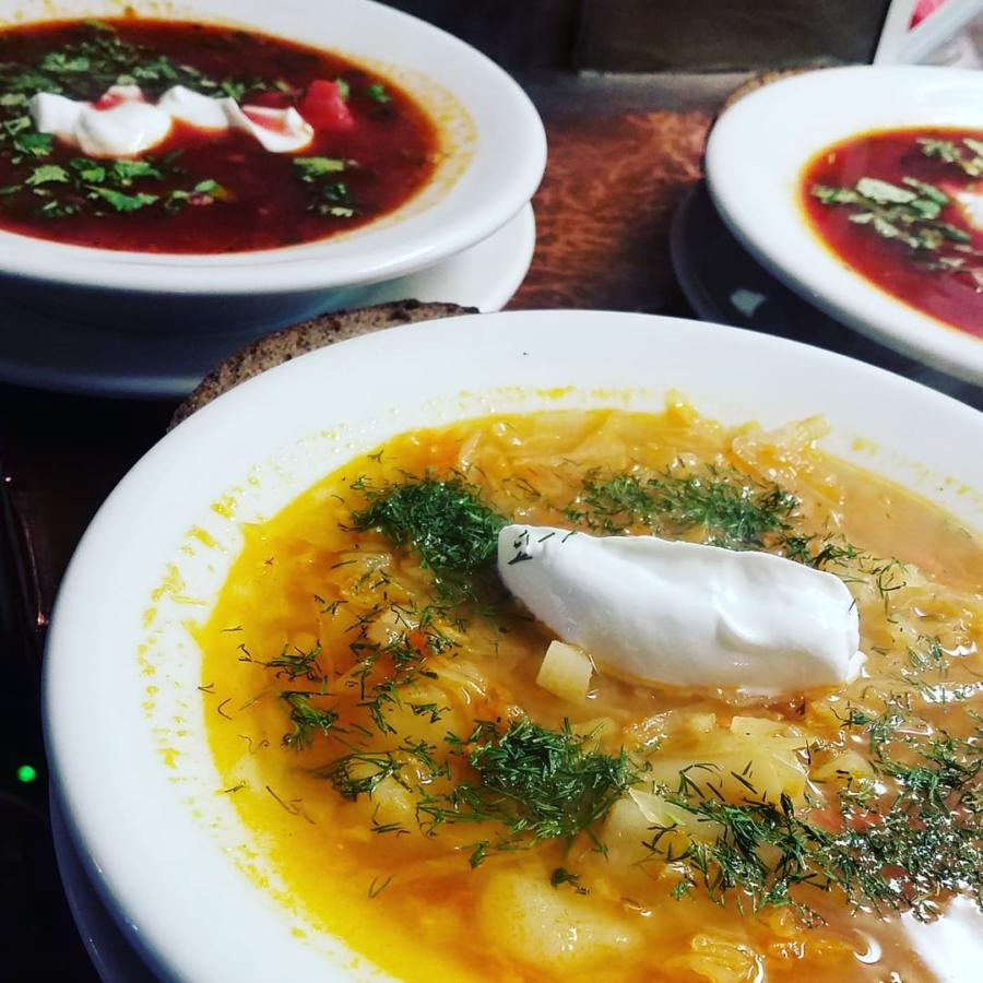 Cabbage soup and borscht are offered for lunch or dinner at Mama Papa Lithuania.