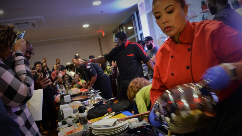 Chefs Leilani Baugh, Chauncy Yarngo and Lamont Perriman competed in the 2018 Black Food and Wine Experience food competition.