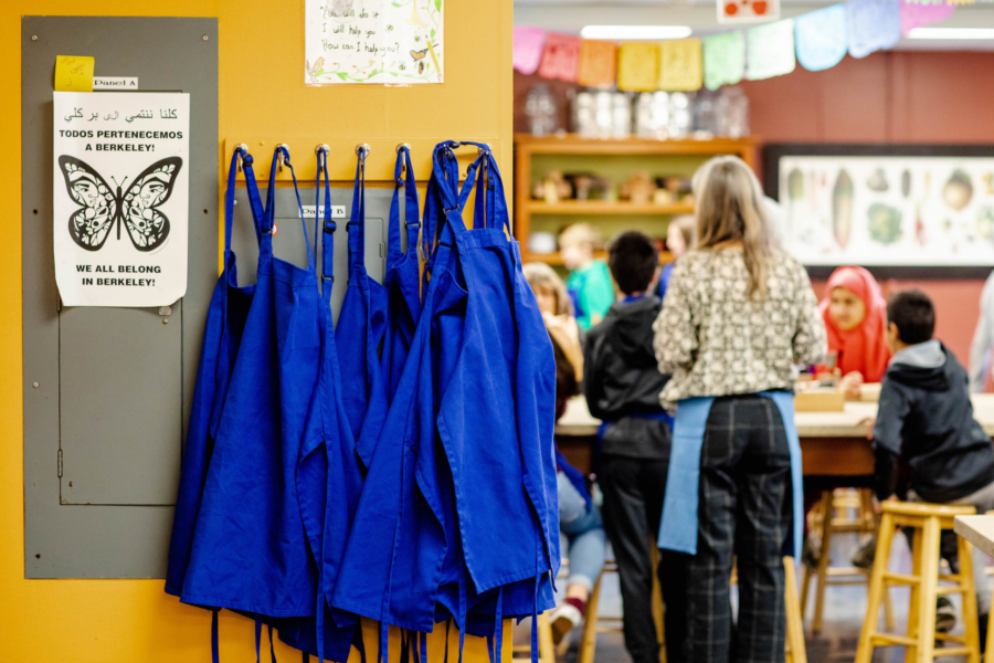 Aprons hang in the kitchen classroom at King Middle School.