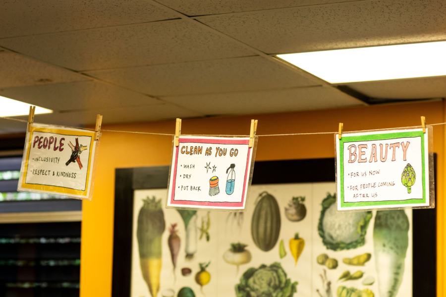 Signs in the ESY kitchen classroom at King Middle School.