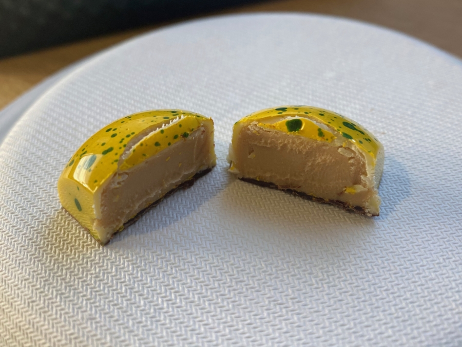 A Lemon Cognac bonbon from Formosa Chocolates.