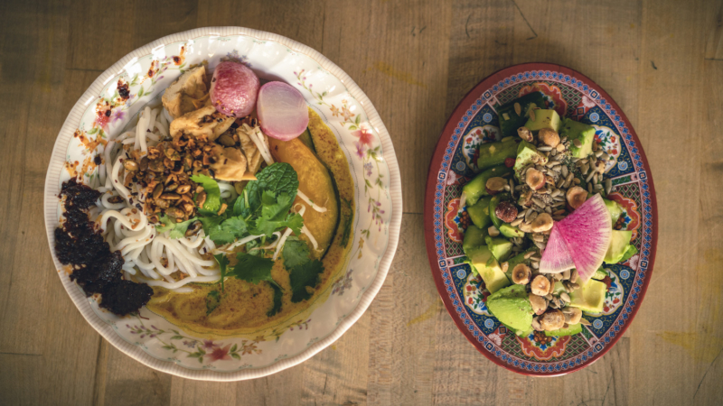 Pumpkin Laksa and avocado cucumber salad from S+M Vegan.