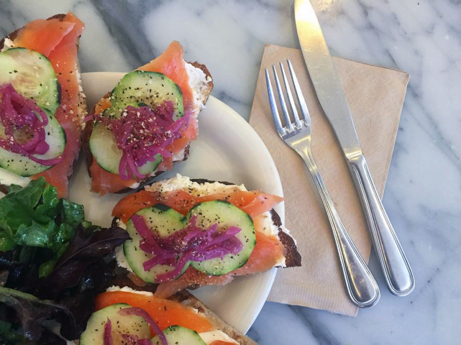 Smoked salmon open faced sandwich at Baker & Commons.