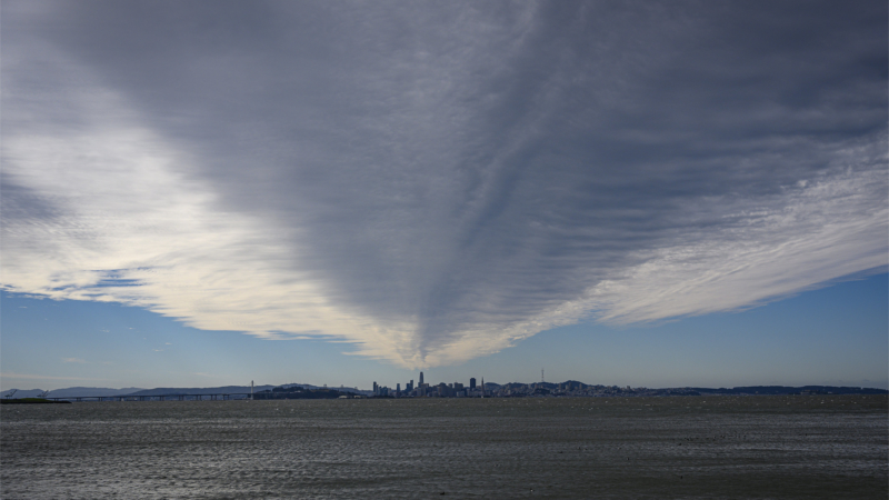 clouds over bay