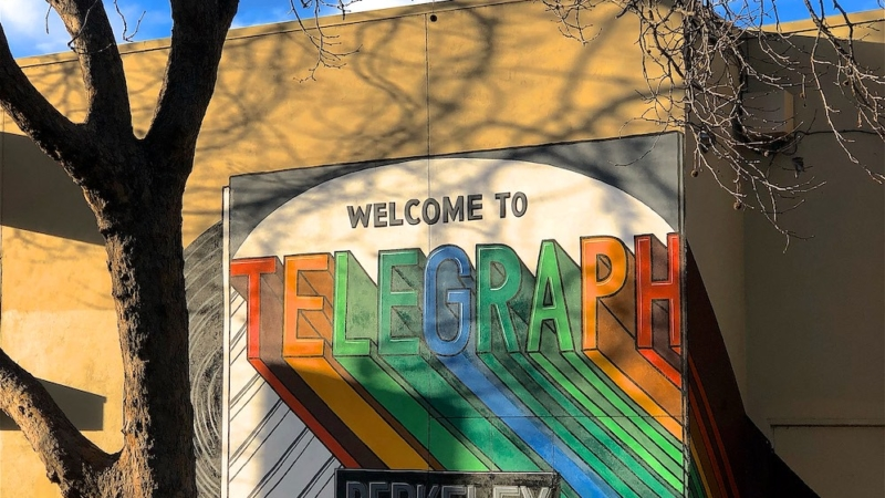 Sign saying Welcome to Telegraph Berkeley