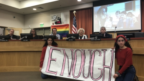 """Two teenage girls hold a hand-drawn banner that says """"Enough."""" Adults sit along a dais above them. In the background is a screen showing another teenager talking at a podium."""
