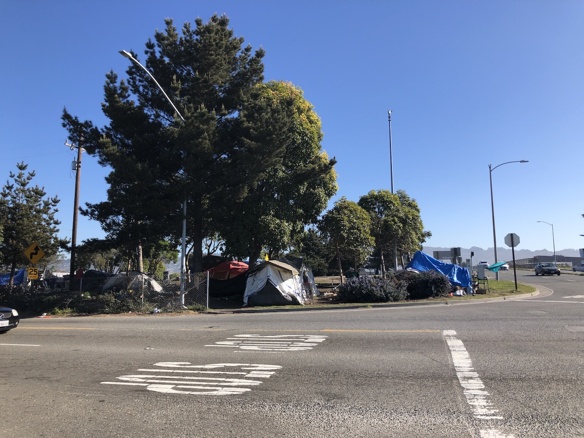 Several tents set up behind busy, wide road
