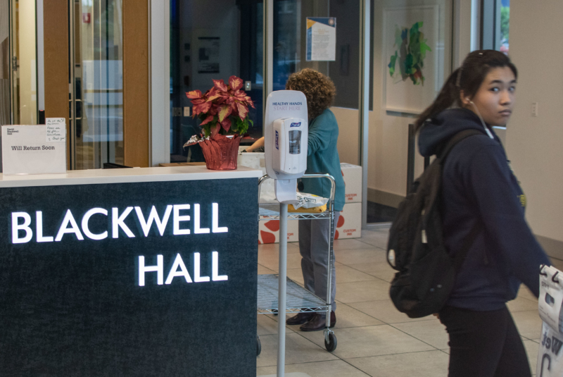 A hand sanitizing station sits in the entrance to Blackwell Hall, a UC Berkeley dorm